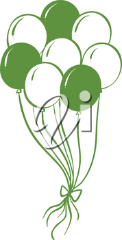 Illustration of a green and white balloons on a white backgorund