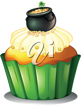 Illustration of a pot of gold at the top of a cupcake on a white background