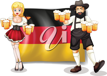 Illustration of the flag of Germany with a man and a woman on a white background