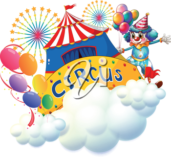 Illustration of a circus above the clouds on a white background