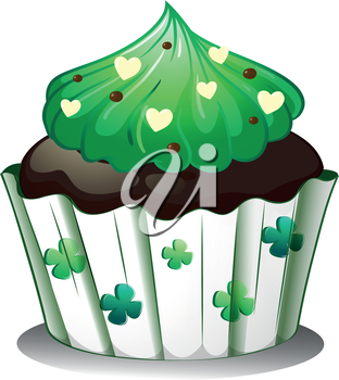 Illustration of a chocolate flavored cupcake on a white background