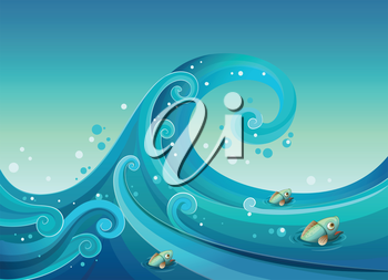 Illustration of a big wave in the sea with fishes