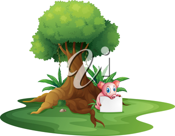 Illustration of a pig holding an empty signage under the big tree on a white background