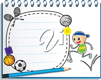 Illustration of a notebook with a drawing of a boy jumping near an empty space on a white background