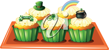 Illustration of a tray with five cupcakes on a white background
