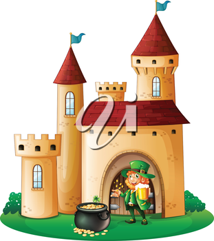 Illustration of a castle with an old man and a pot of coin on a white background