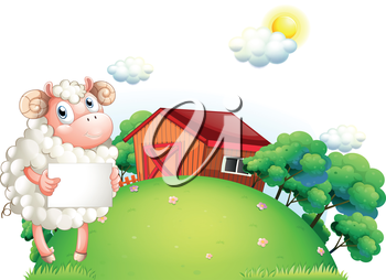 Illustration of a sheep holding an empty paper in front of a barn on a white background
