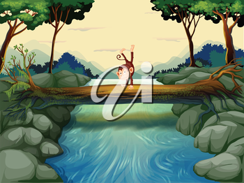 Illustration of a monkey crossing the river