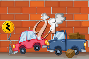 Illustration of a car accident near the wall