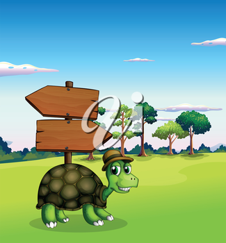 Illustration of a turtle near the empty wooden arrow signboards
