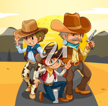 Illustration of the three cowboys at the road