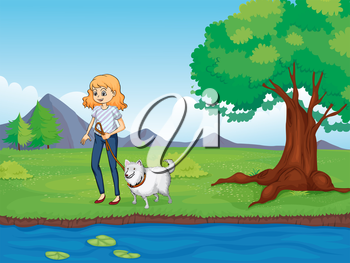 Illustration of a woman with a dog walking along the river