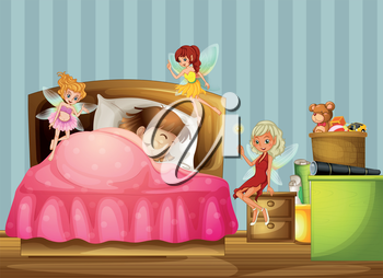 Illustration of a young girl sleeping with fairies inside her room