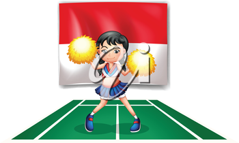 Illustration of a cheerleader in front of the Indonesian Flag on a white background