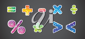 Illustration of the colorful signs and symbols on a gray background