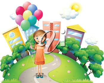 Illustration of a young lady in the middle of the road with balloons on a white background