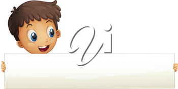 Illustration of a small boy holding an empty banner on a white background