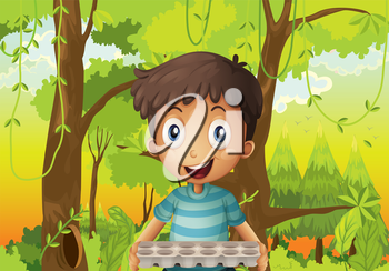 Illustration of a boy holding an empty eggtray in the forest