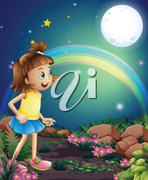 Illustration of a kid amazed by the sight of the rainbow and the fullmoon