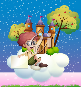 Illustration of a boy sitting at the cloud holding an empty signboard