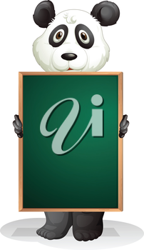 Illustration of a panda at the back of an empty blackboard on a white background