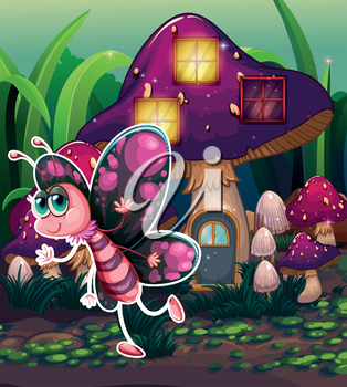 Illustration of a colorful butterfly near the lighted mushroom house
