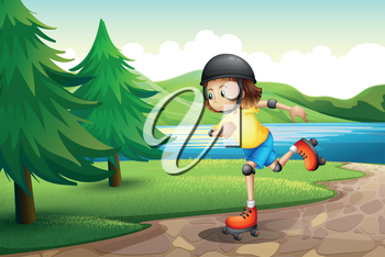 Illustration of a young girl rollerskating at the riverbank with pine trees