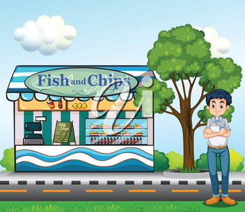 Illustration of a man near the fish and chips store
