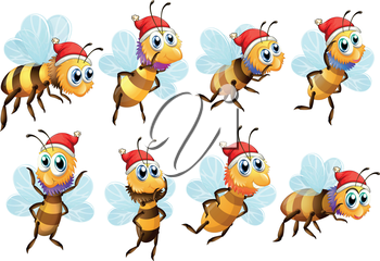 Illustration of the Santa bees on a white background