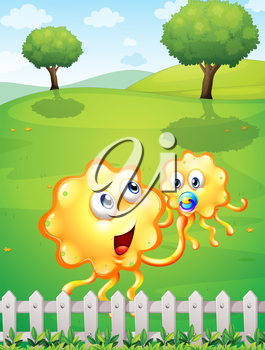 Illustration of a hilltop with an orange monster playing with a baby monster