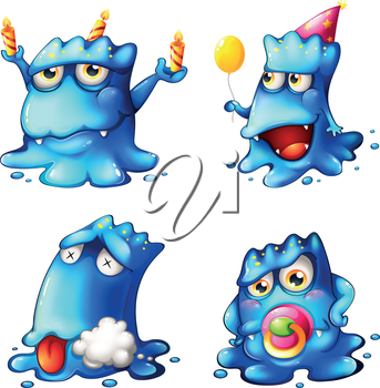 Illustration of the four blue monsters on a white background
