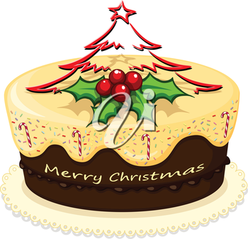 Illustration of a delicious cake for Christmas on a white background