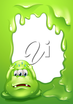 Illustration of a nervous green monster in front of an empty template