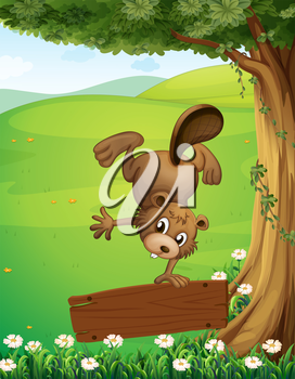Illustration of a beaver doing a handstand above the wooden signboard