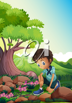 Illustration of a boy watching the rocks in the forest