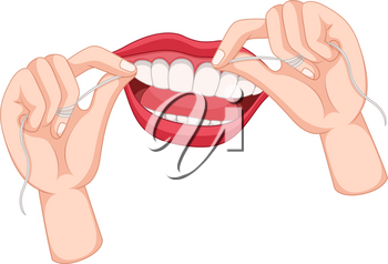 Flossing teeth on white background illustration