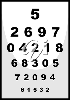 Number chart used for ophthalmologist illustration