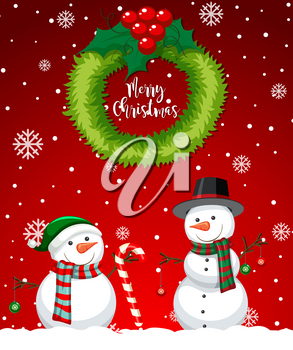 Red merry christmas snowman card illustration
