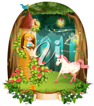 Princess and unicorn in the tower illustration
