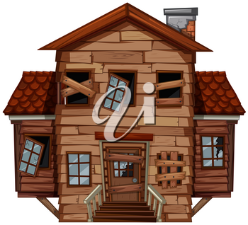 Wooden house in poor condition illustration