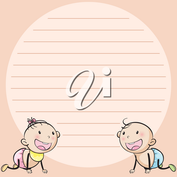 Line paper template with two infants illustration