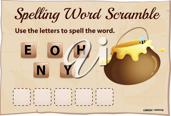 Spelling word scrable game with word honey illustration