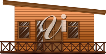 Wooden hut with terrace illustration