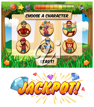 Slot game template with lumber jack characters illustration