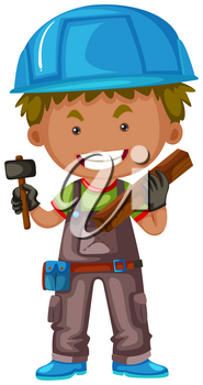 Carpenter with hammer and wood illustration