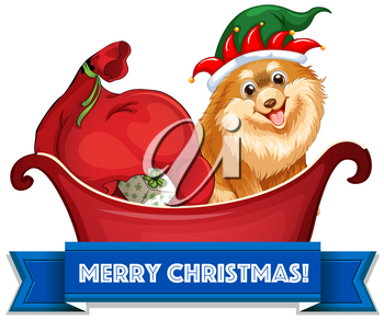 Christmas theme with dogs and presents on sledge illustration