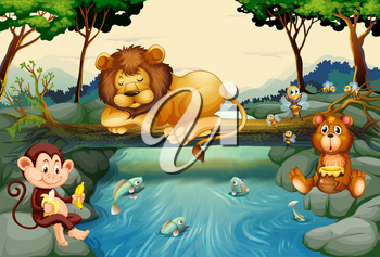 Wild animals on the river illustration