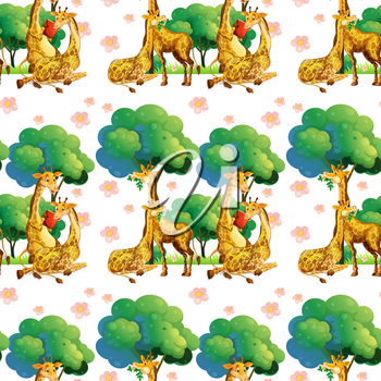 Seamless giraffes in the forest illustration