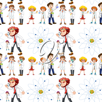 Seamless background with scientists and symbol illustration
