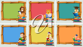 Wooden frames with animals reading books illustration